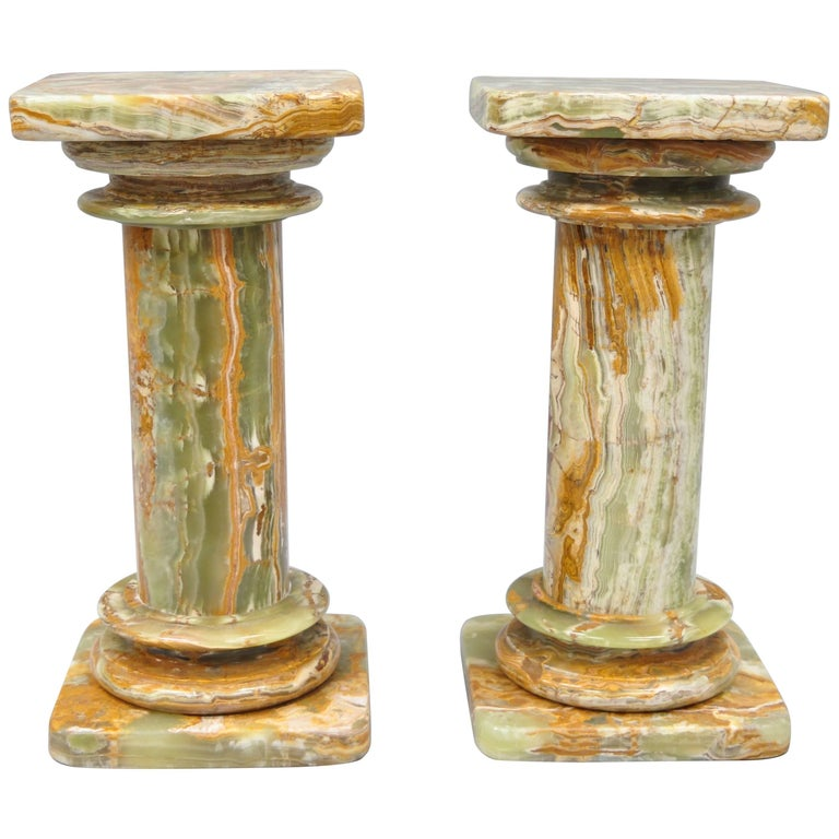 Pair of Low Italian Style Green Onyx Classical Column Pedestal Stand Side Tables