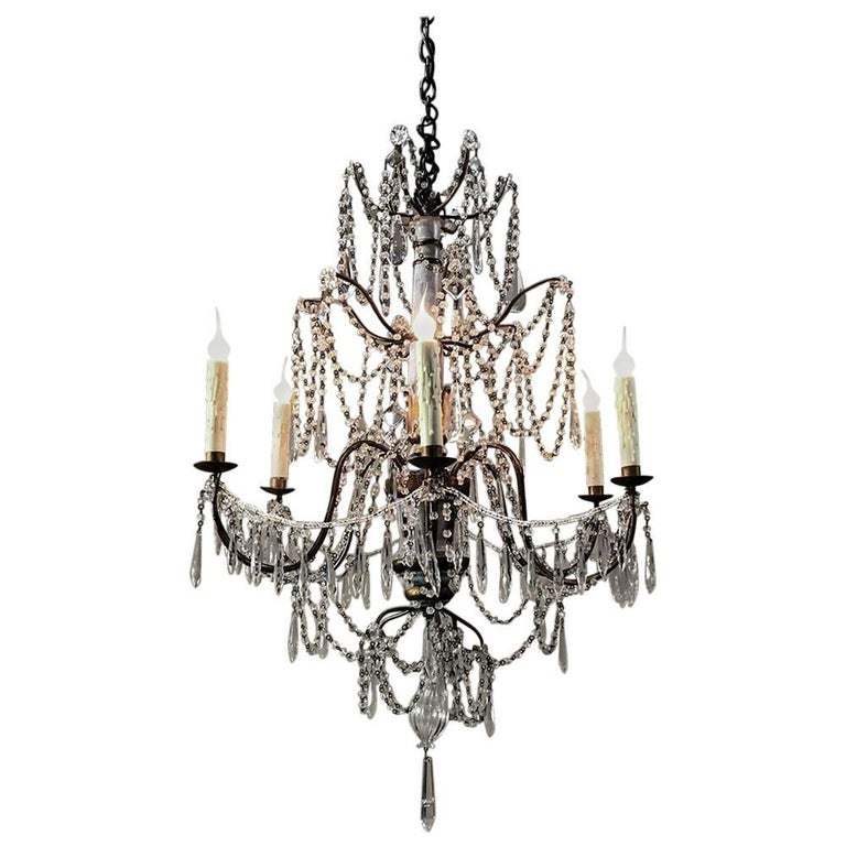 Antique 19th Century Italian Crystal and Silver Leaf Carved Wood Chandelier