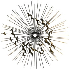 Curtis Jere Modernist Flying Birds Starburst Wall Sculpture