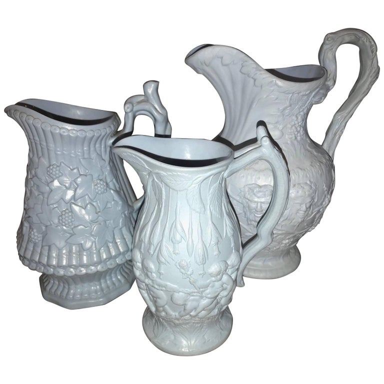Lot of Three Mid-19th Century Ceramic Pitchers by Ridgeway and Abington