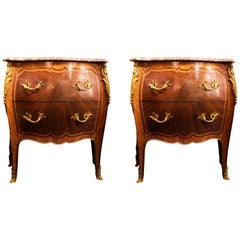 Pair of 19th Century, French Louis XV Style Marble-Top Commodes
