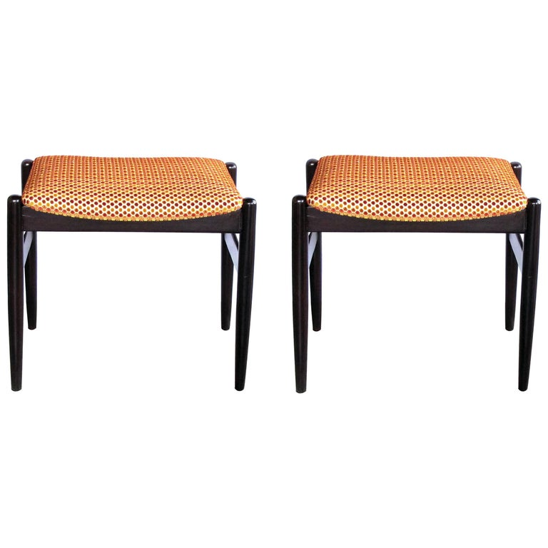 Classic Pair of Danish Modern 1960s Deep-Brown Lacquered Benches/Stools