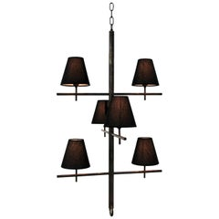 """Brass Pendant """"Stix"""" with Three Arms and Six Lights, Made in Italy"""