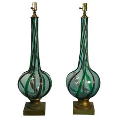 Pair of Modern Tri-Color Twist Murano Lamps