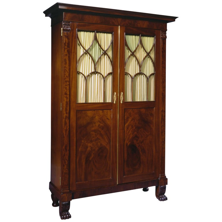 Fine New York Classical Mahogany Secretary Bookcase
