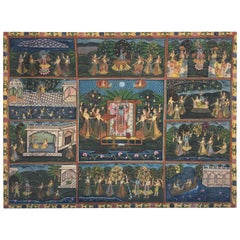 Large Colorful Pichhavai Silk Asian Painting with Krishna and Female Gopis