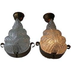 Two Italian Brass and Murano Glass Pendant Lights