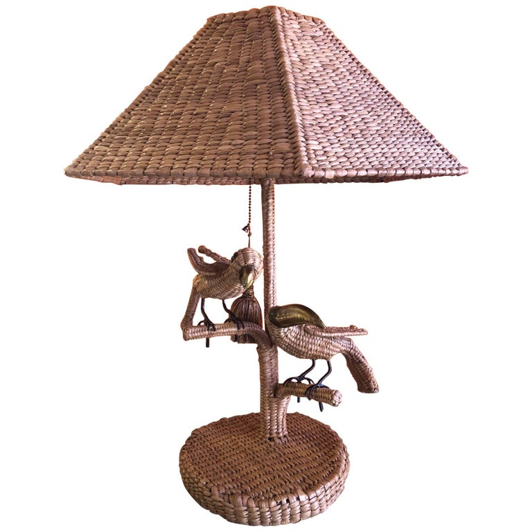 Parrot & Toucan Wicker Table Lamp by Mario Lopez Torres