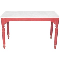 Painted Red Farm Table with Turned Legs and Marble Top