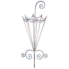 Charming French 1920s Metal Openwork Umbrella Stand
