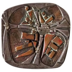 Mixed Metals Modernist Brooch by Stephen Daly, 1960s
