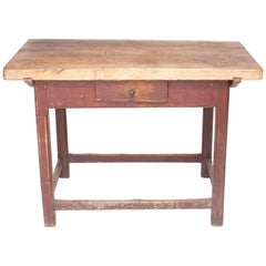 Vintage French Butcher Block Island Table