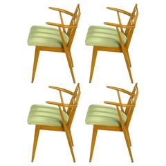 Four Jan Kuypers Birchwood Dining Armchairs for Imperial