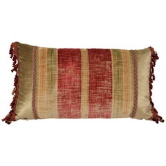 Striped Throw Pillow with Antique French Textile