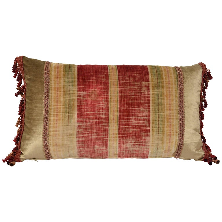 Striped Throw Pillow with Antique French Textile For Sale