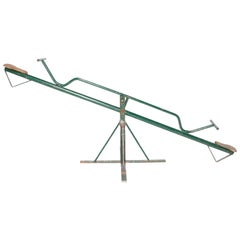 Vintage French Green Metal See Saw with Two Wooden Seats