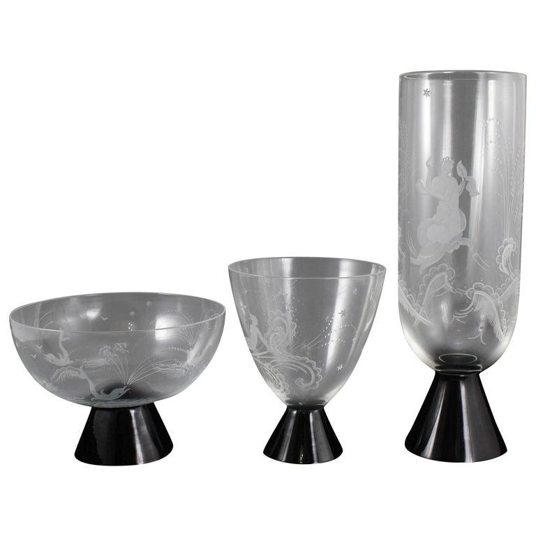 Trio of Engraved Art Deco Murano Vases by Guido Balsamo Stella