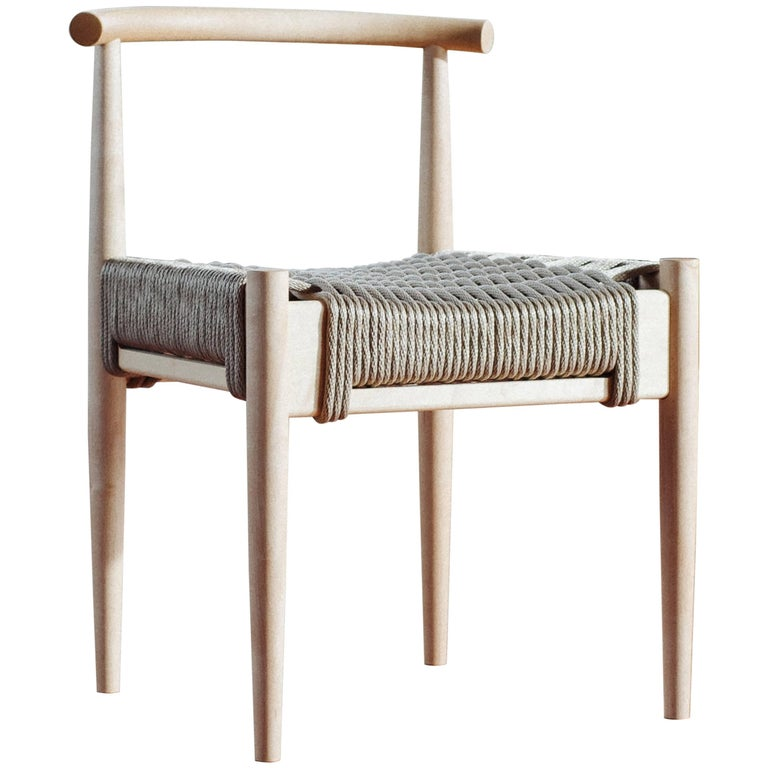 Phloem Studio Harbor Chair, Handmade Modern Maple and Rope Woven Seat Chair For Sale