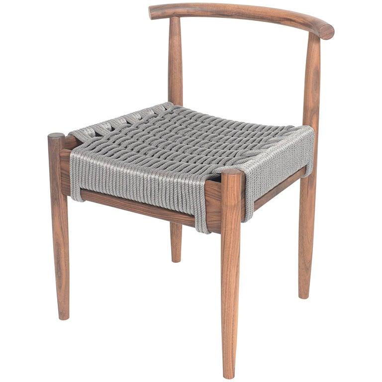 Phloem Studio Harbor Chair, Handmade Modern Walnut and Rope Woven Seat Chair For Sale
