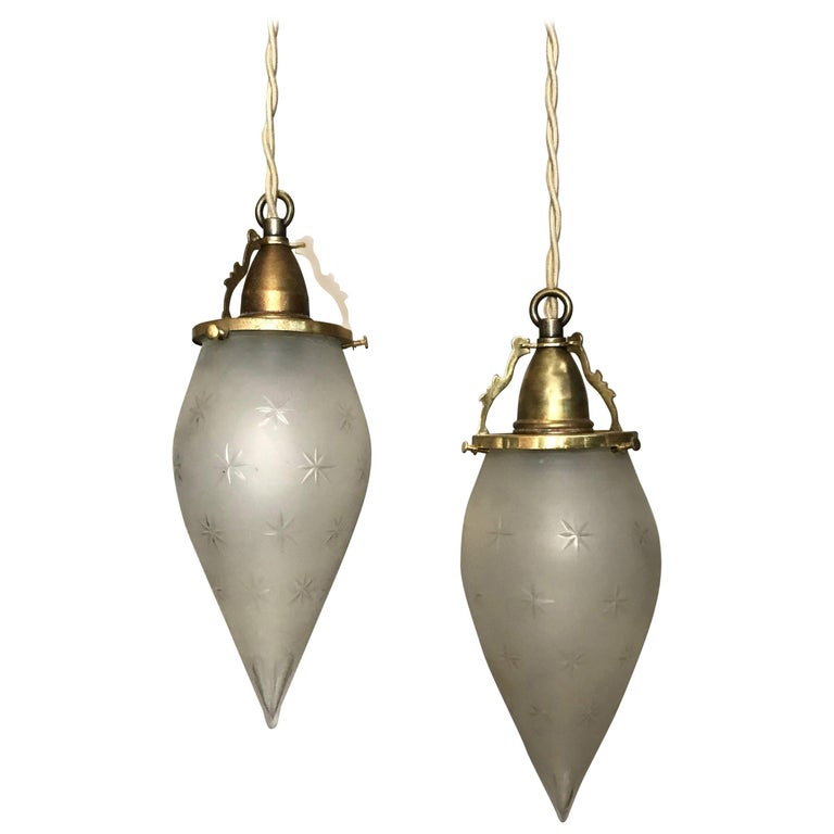 Pair of Etched Frosted Glass Teardrop Pendant Lights For Sale