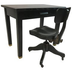 Ebonized Oak Library Desk and Matching Chair Set