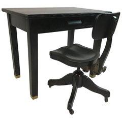 Ebonized Oak Library Desk and Matching Chair Set