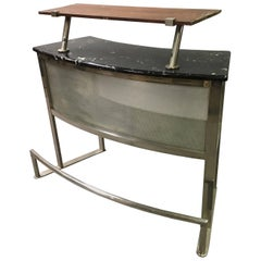 Modernist Memphis Style Stainless Steel Bar Console
