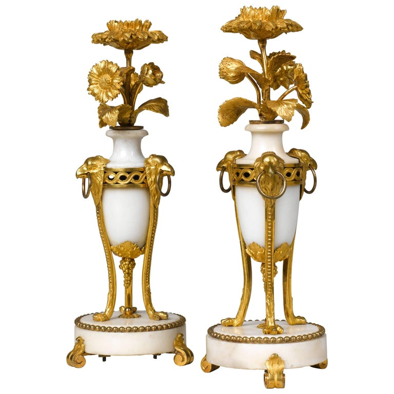 Pair of French Late 18th century Louis XVI Ormolu Candlesticks 1