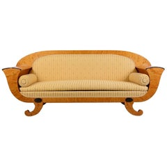 Antique Swedish Biedermeier Empire Golden Birch Sofa Honey Colour, 19th Century
