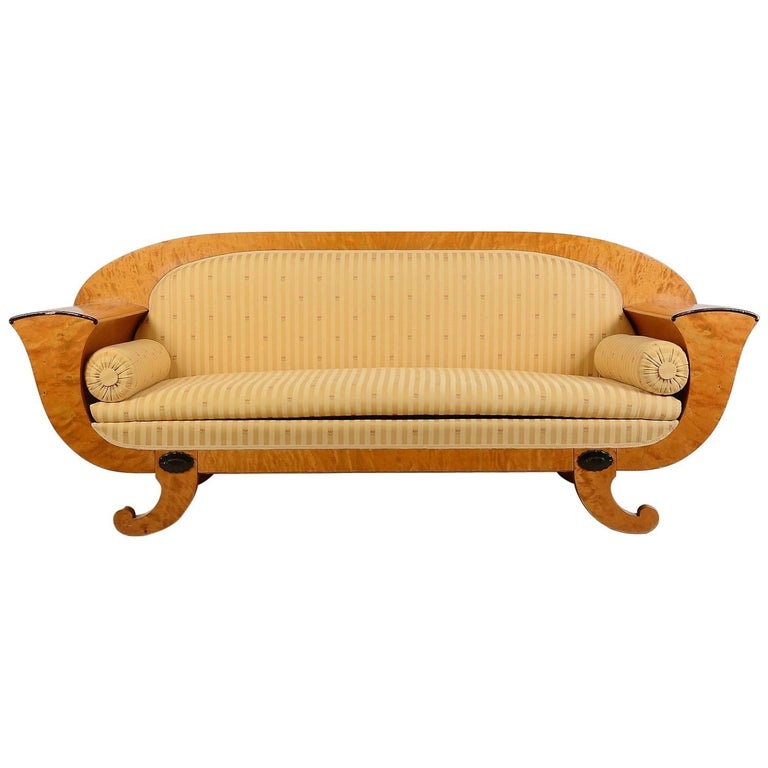 Antique Swedish Biedermeier Empire Golden Birch Sofa Honey Colour, 19th Century