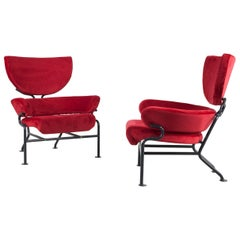 """Set of Two """"Model PL19"""" Chairs Design by Franco Albini, Manufactured by Poggi"""