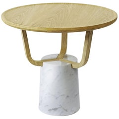 Coffee Table Hansel Indoor in Light Oak and Carrara Marble