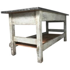 Vintage Industrial Zinc Top Work Table Kitchen Island Sideboard Potting Table