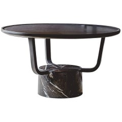 Coffee Table Gretel Indoor in Black Oak and Marquina Marble