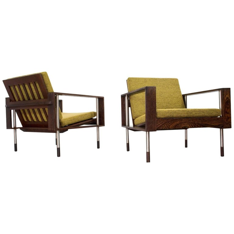 Pair of Wengé Lounge Chairs, 1950s Mid-Century Modern in Style of Fristho