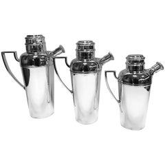 Set of Three Graduating Cocktail Shakers