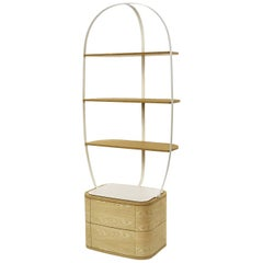 Bookcase Klec S in Light Oak and White Lacquered Metal