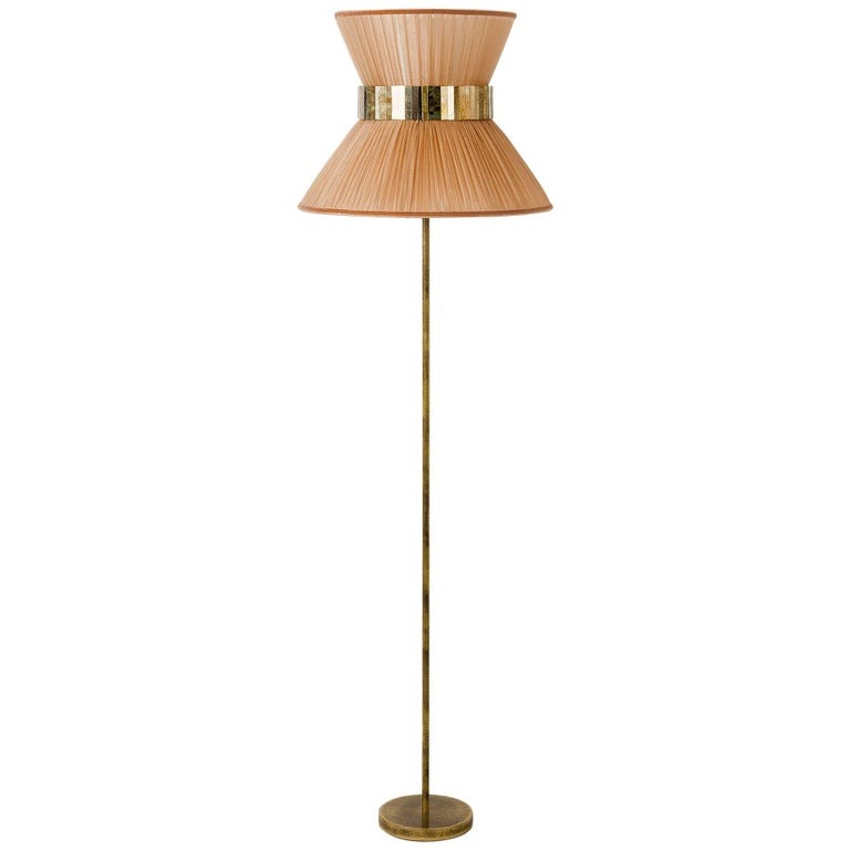 Tiffany Floor Lamp Powder Silk, Antiqued Brass, Silvered Glass Handmade For Sale