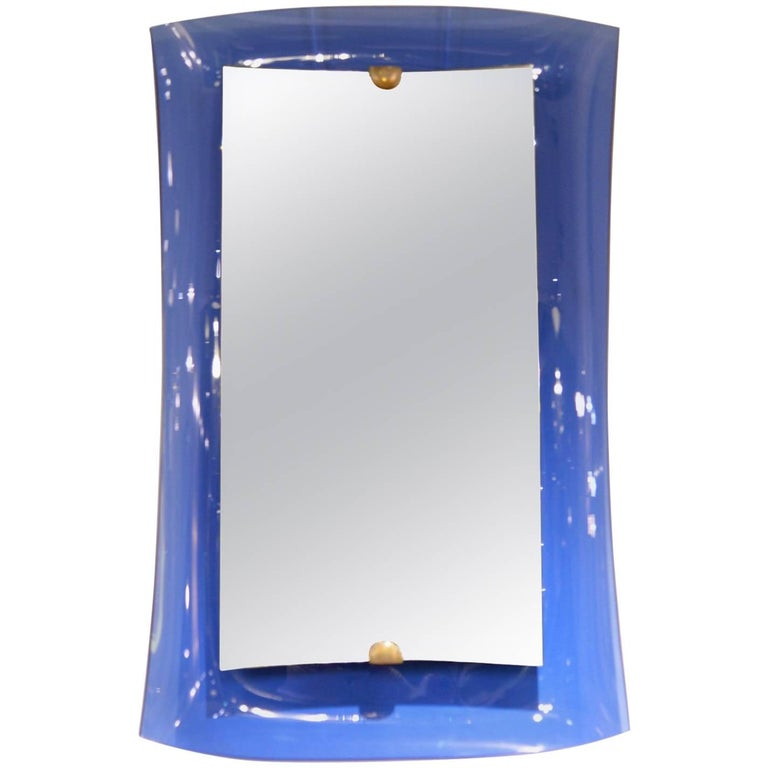 Cristal Art, Mirror with Blue Tinted Glass, Italy, circa 1950