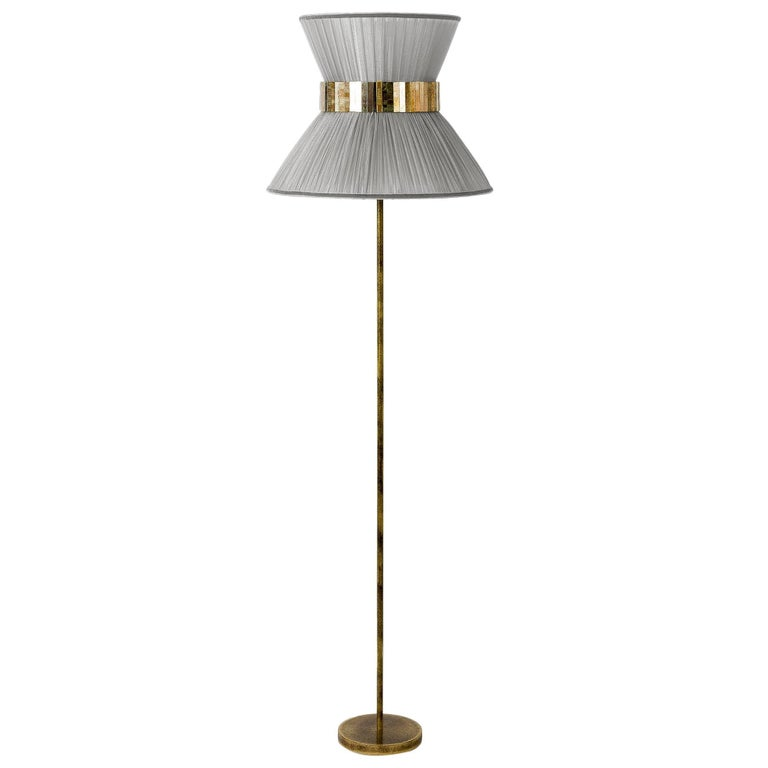 Tiffany Floor Lamp Silver Silk, Antiqued Brass, Silvered Glass Handmade For Sale