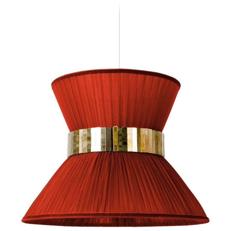 Tiffany Contemporary Hanging Lamp 40 cm , Rust Silk Silvered Glass Handmade