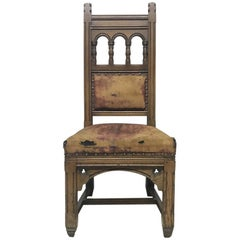 Bruce Talbert, a Gothic Revival Tall Back Oak Chair with the Original Upholstery