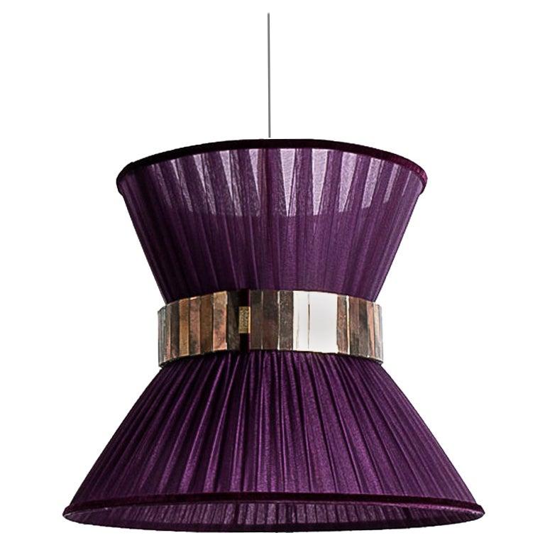 Tiffany Contemporary Hanging Lamp 30, Purple Silk Silvered Glass Handmade