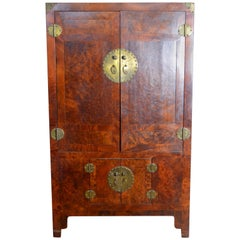 Antique Chinese Brown Lacquered Armoire