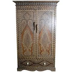 19th Century Indian Wood Armoire with Ebony, Bone Inlay and Geometric Motifs
