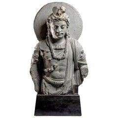 Gandharan Gray Schist Bust of Maitreya, 2th-3th Century