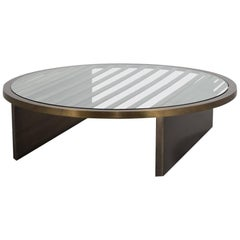 Large Circular Bronze Framed Coffee Table with Glass Top, 1980s