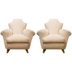 In the Taste of Arbus, Pair of Armchairs in Wood and Fabric, circa 1940