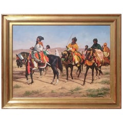 Oil Painting of Arabian Horsemen in a Landscape by John Berry