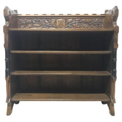 Pugin, Gothic Revival Bookcase with Carved Florets, Acorns & Oak Leaf Decoration